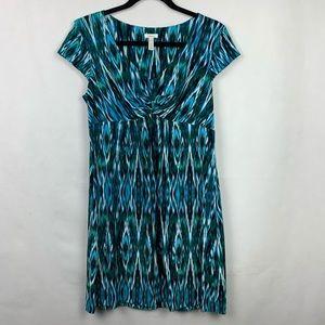 Soma Empire Waist Dress Blue Green Medium